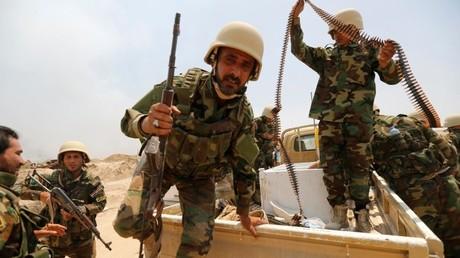 Los milicianos chiitas cerca de Faluya