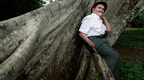 José Uriel Delgado de 115 años, conocido como 'Chepito', en San José, Costa Rica, 11 de agosto de 2015.