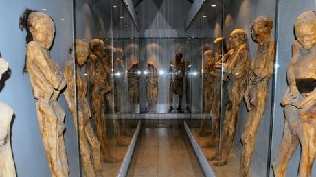 Sala del museo de las momias de Guanajuato