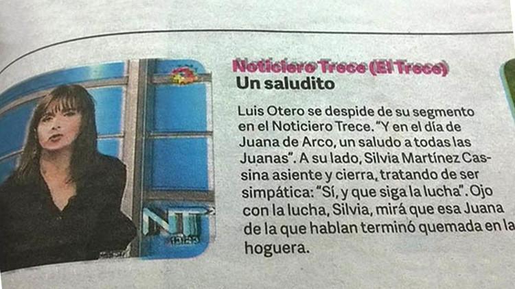 Clarín amenaza públicamente a una periodista al compararla con Juana de Arco