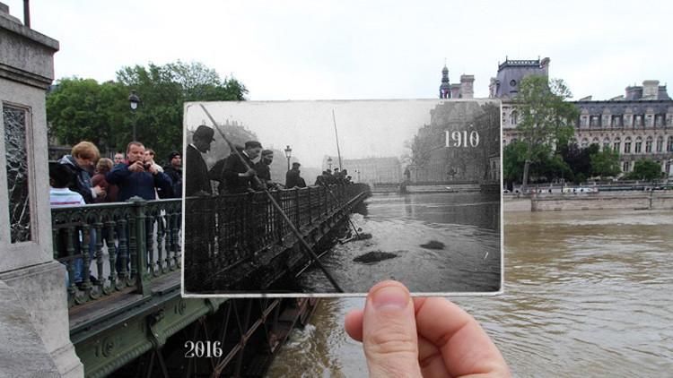 Un fotógrafo compara las actuales inundaciones de París con las de 1910 (FOTOS)