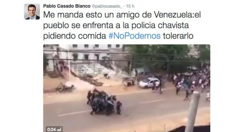 Un diputado del PP difunde una protesta del Congo como si fuera de Venezuela