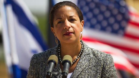 La asesora de Seguridad Nacional de EE.UU., Susan Rice, se dirige a los medios de comunicación durante su visita a la base de la Fuerza Aérea israelí de Palmachim el 9 mayo de 2014.