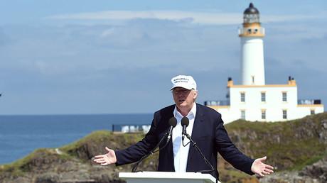 Donald Trump durante una rueda de prensa en Turnberry, Escocia, Reino Unido.