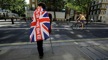 Un votante a favor del 'Brexit' está de pie con la ayuda de una muleta a las afueras de Downing Street en Londres, Reino Unido. 24 de junio de 2016.