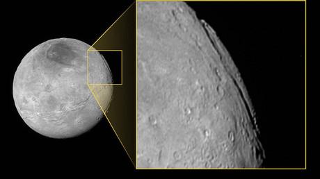 Caronte, una de las lunas de Plutón.