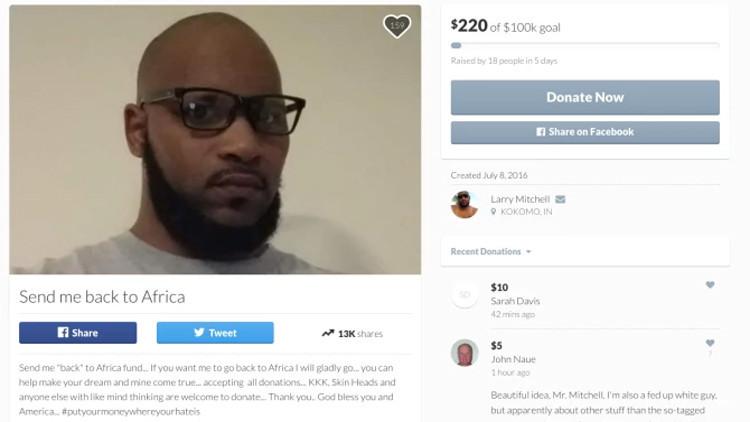 Un afroamericano pide a los racistas que le sufraguen su viaje a África
