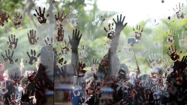 Estudiantes de la Universidad Nacional Autónoma de Honduras (UNAH) durante una protesta contra las nuevas normas académicas. Tegucigalpa, 6 de julio de 2016