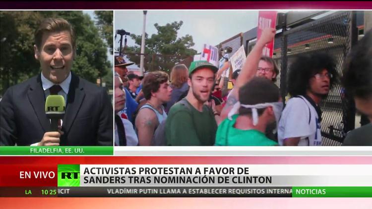 EE.UU.: Activistas protestan a favor de Sanders tras la nominación de Clinton