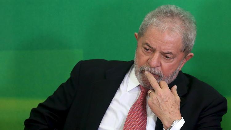 El expresidente Luis Inacio Lula da Silva en el Palacio de Planalto, Brasilia. 17 de marzo de 2016.