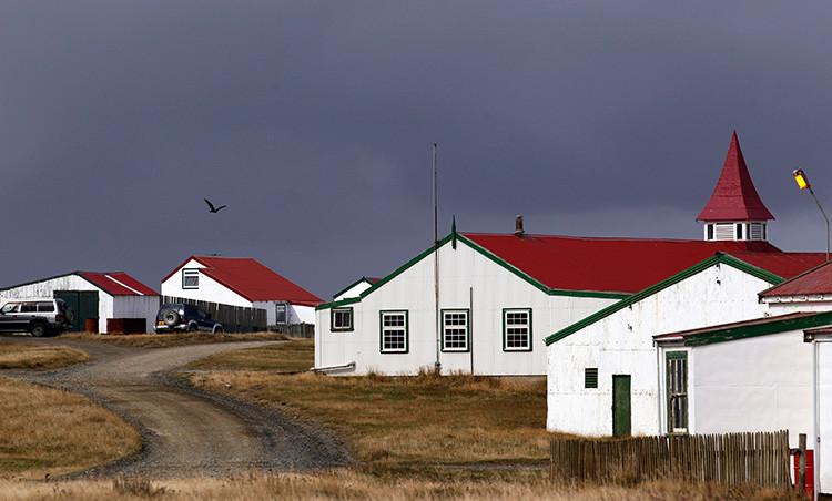 Un ave sobrevuela varias casas en el poblado de Pradera del Ganso, Islas Malvinas, 11 de marzo de 2012.