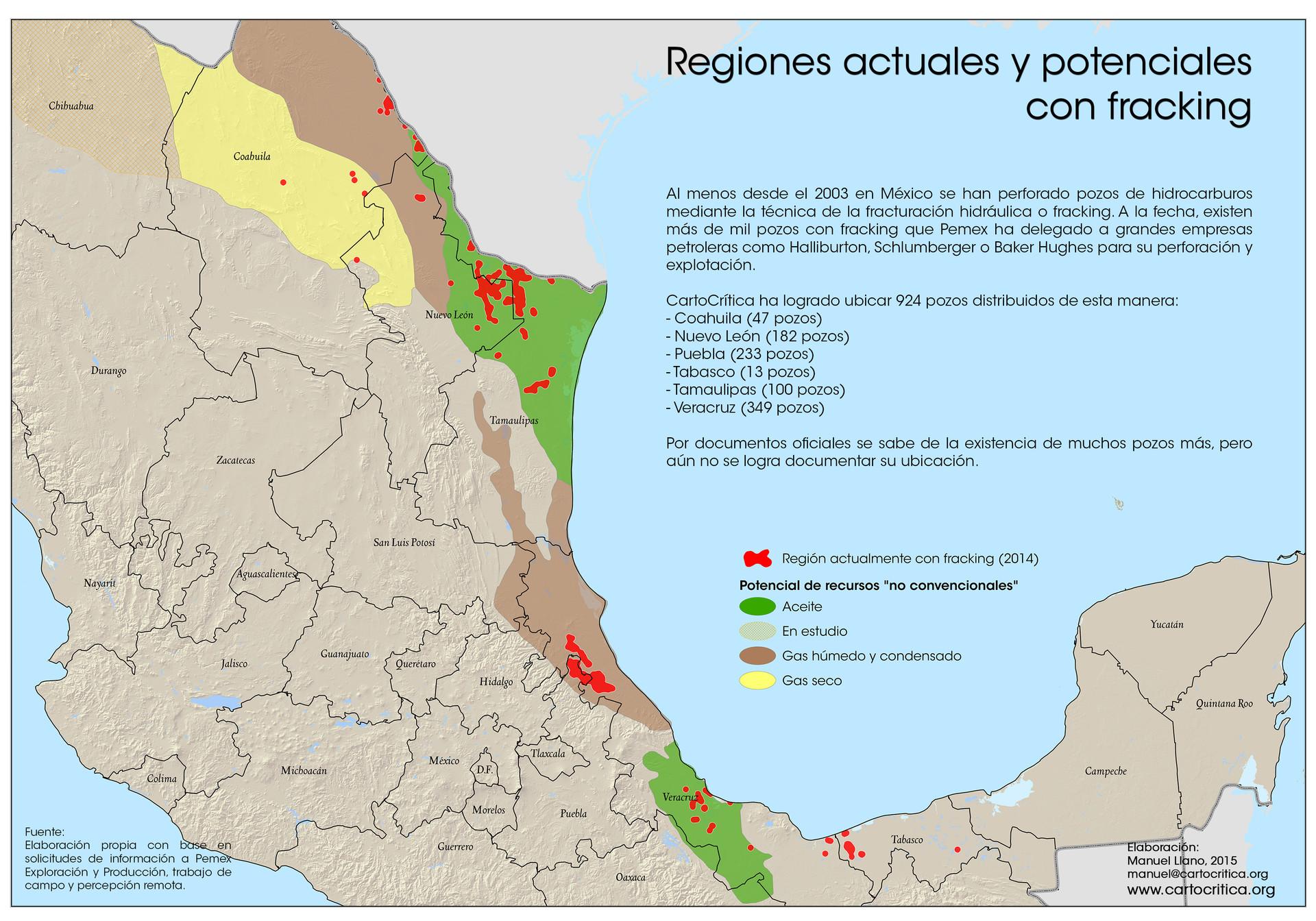 Mapa del fracking en México