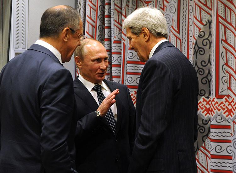 Vladímir Putin, John Kerry y Serguéi Lavrov después de reunirse con Barack Obama en el marco de la 70.ª sesión de la Asamblea General de la ONU en Nueva York