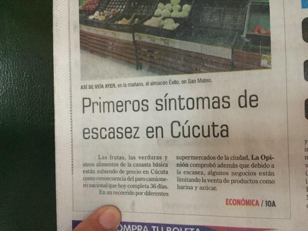 Diarios en Cúcuta reportaron  signos de escasez en apenas dos días de compras venezolanas.