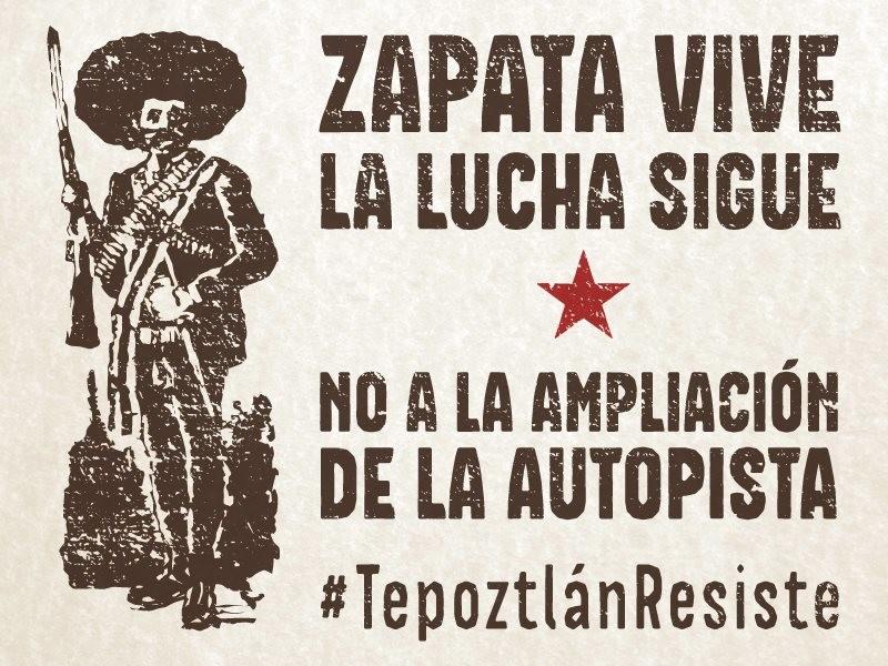 Cartel de aniversario de lucha contra autopista en Tepoztlán