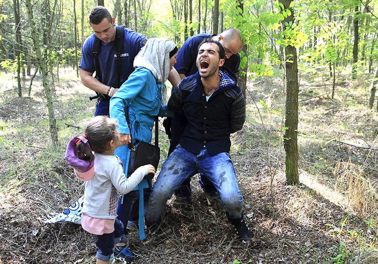 La Policía húngara detiene a un inmigrante sirio cerca de la ciudad de Roszke, Hungría.