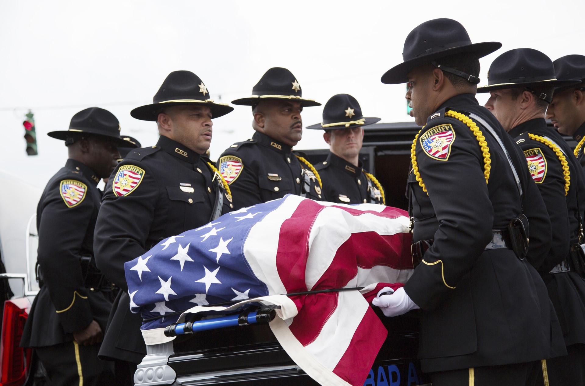 Funeral de Brad Garafola, uno de los policías asesinados en la masacre de Baton Rouge, Louisiana. 23 de julio de 2016.