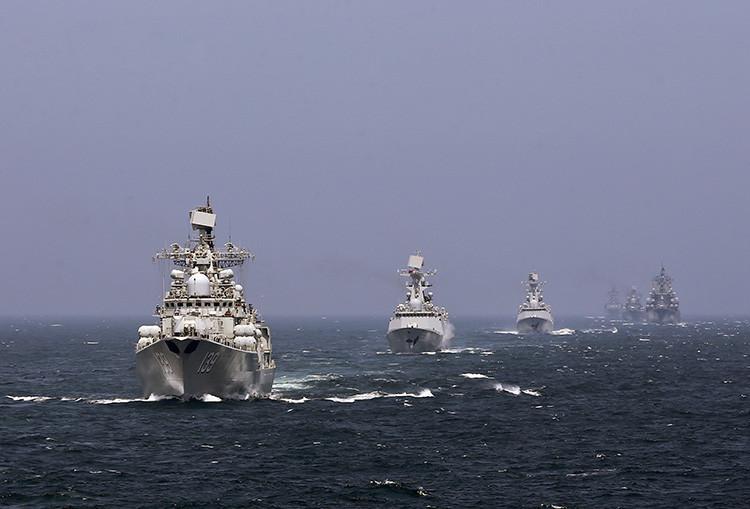 Ejercicios navales conjuntos de Rusia y China.