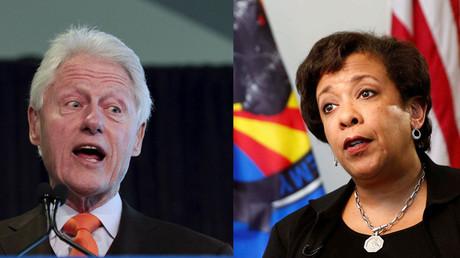 El expresidente de EE.UU., Bill Clinton, y la fiscal general de EE.UU., Loretta Lynch
