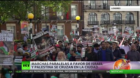 Marchas paralelas a favor de Israel y Palestina se cruzan en Londres
