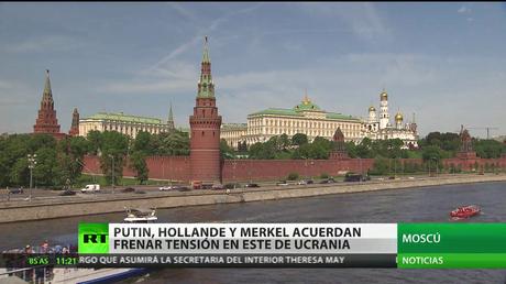 Putin, Hollande y Merkel acuerdan frenar tensión en este de Ucrania