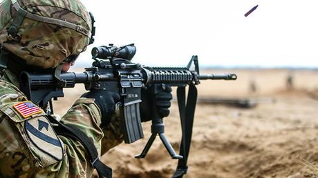 Un soldado estadounidense durante un entrenamiento militar en Gaiziunai (Letonia) el 24 de febrero de 2016.