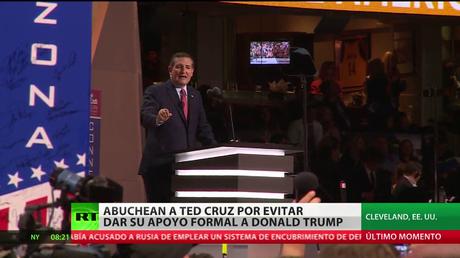 Abuchean a Ted Cruz en la Convención del Partido Republicano por no apoyar a Trump