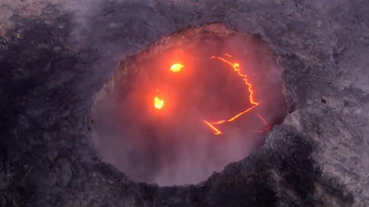 Una erupción volcánica deja lava en forma de emoticono (video)