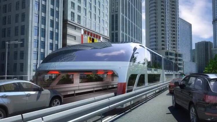 China prueba en carretera el 'autobús del futuro', capaz de reducir los atascos (VIDEOS)