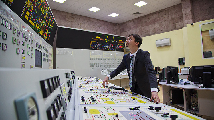 Sala de control de la central nuclear de Novovorónezh.