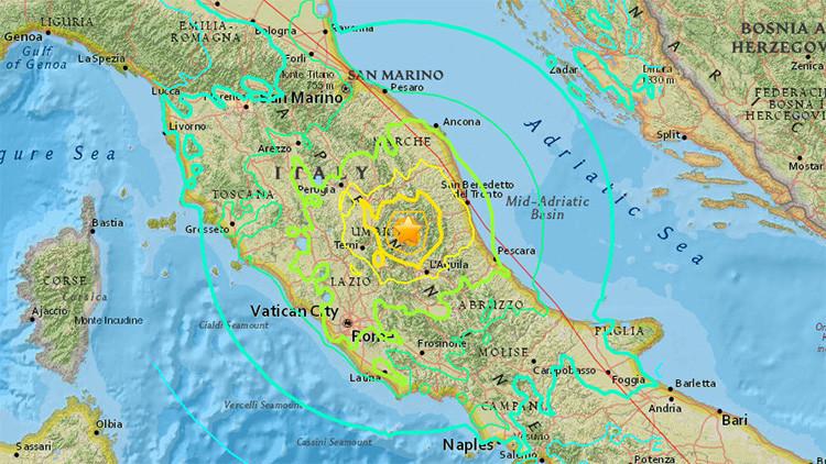 Sismo 6,2 grados sacude Italia, entre las ciudades de Perugia y Rieti, unos 100 km al noreste de Roma