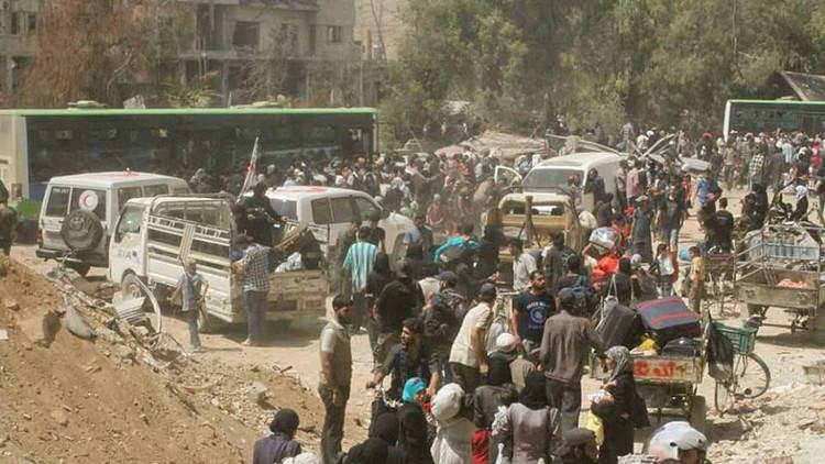 Evacuación de civiles y rebeldes en Daraya, una de las primeras ciudades en levantarse con Al Assad