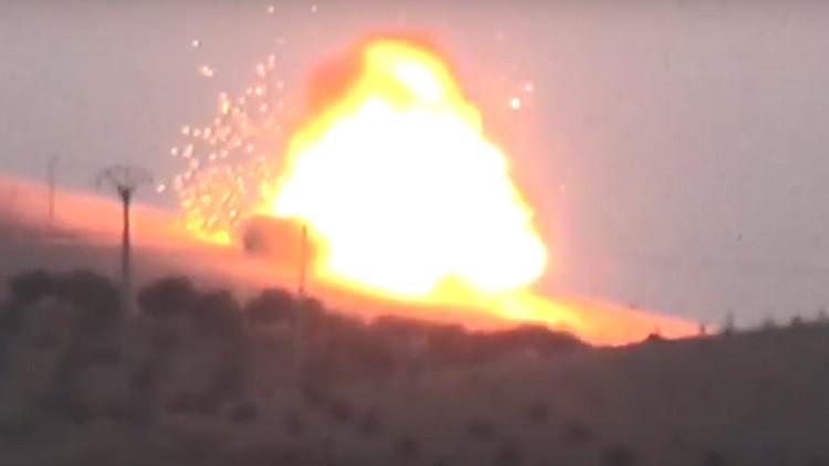 Video: Difunden las primeras imágenes de la destrucción de un tanque turco en Siria