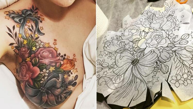 Se tatúa el seno tras un cáncer y se vuelve viral en las redes sociales
