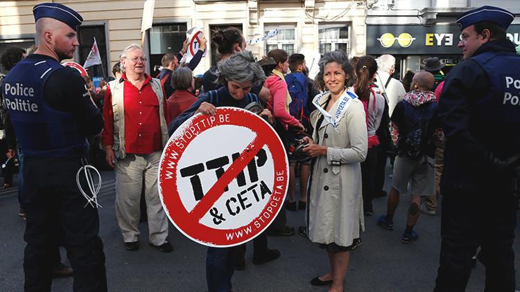Una manifestación contra el TTIP