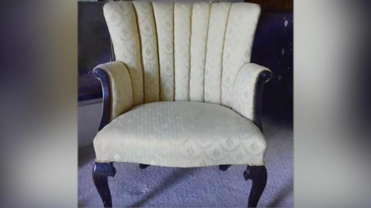 La silla con la nueva tapicería
