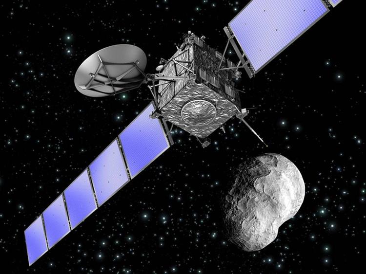 Representación artística de la nave espacial Rosetta de la ESA al pasar cerca de un asteroide