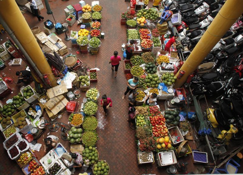 Una verdulería en Hanói