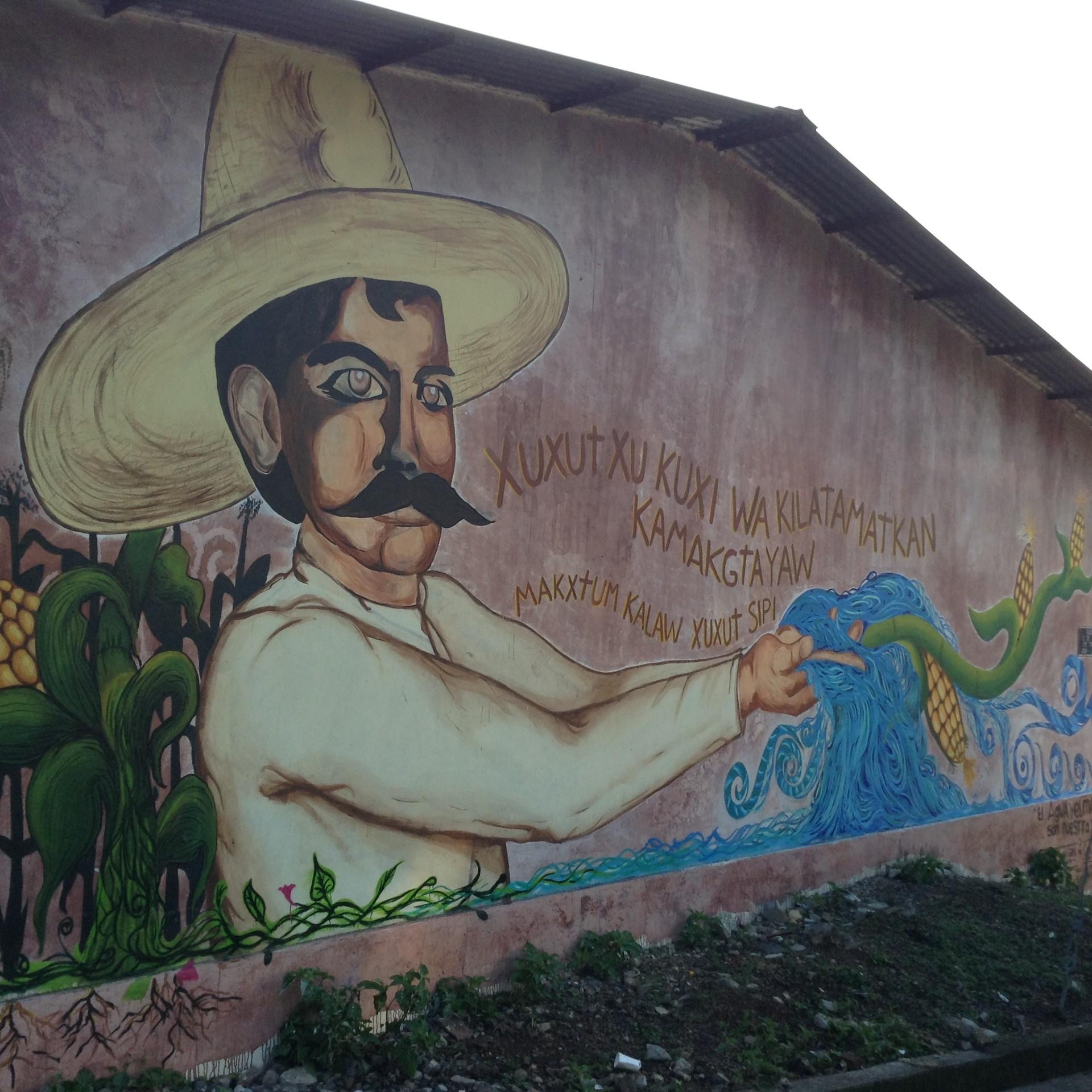 Mural contra los proyectos hidroeléctricos en el territorio indígena totonaco de Puebla
