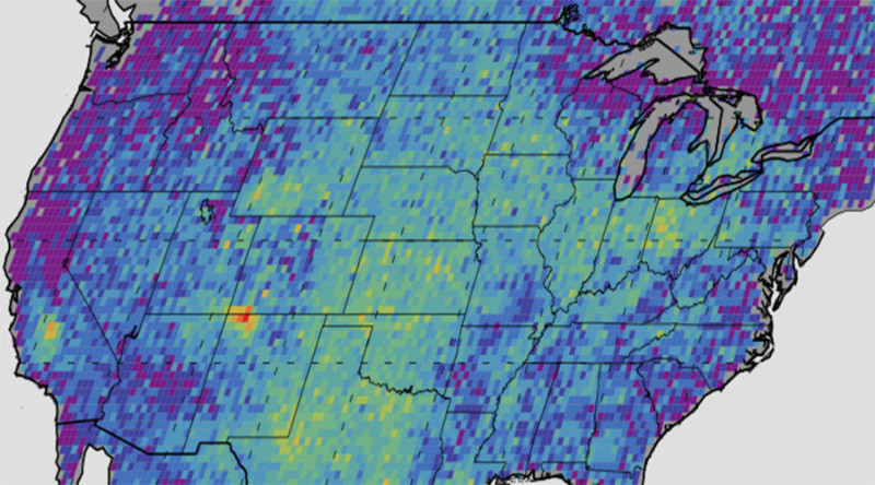 El mapa demuestra las fugas de metano  anómalos en EE.UU entre 2003 y 2009 medidas por European Space Agency's SCIAMACHY instrument. © NASA /J PL-Caltech / University of Michigan
