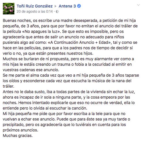 Mensaje de Toñi Ruiz González publicado en el perfil de Facebook de Antena 3