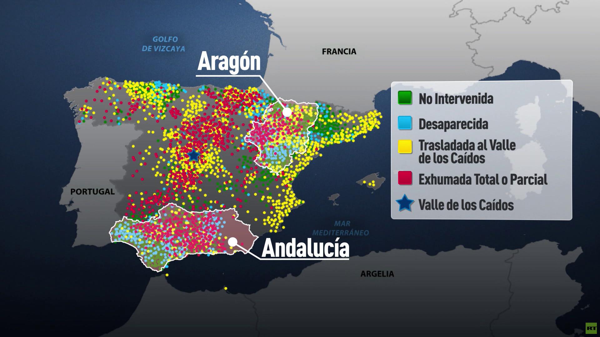 Mapa de la localización geográfica de las fosas comunes de la Guerra Civil Española