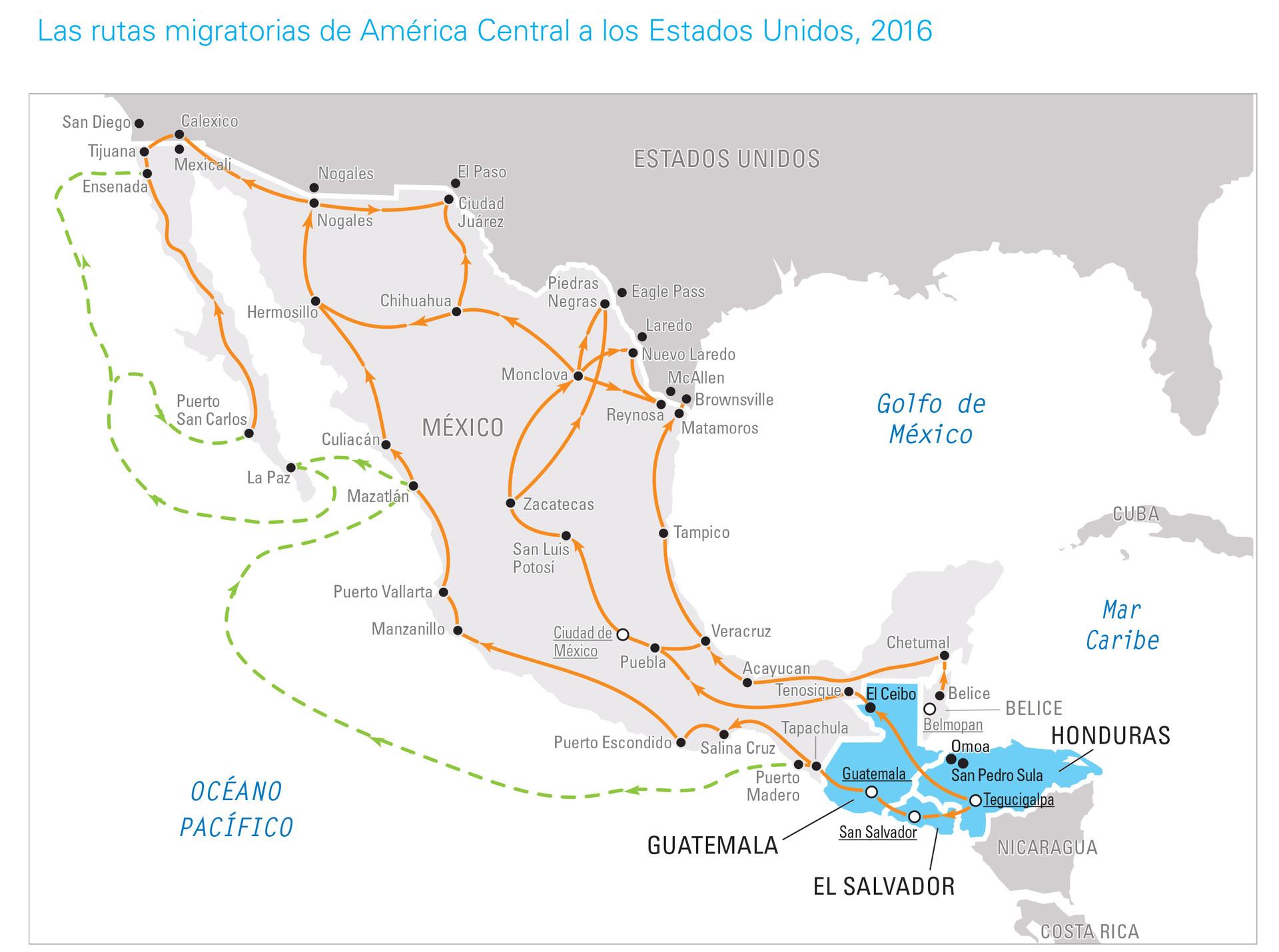 Fuente: Organización Internacional para las Migraciones (OIM), Migrant Routes: Americas 2016, Oficina Regional para América Central y del Norte y el Caribe de la OIM y OIM Costa Rica, marzo de 2016.