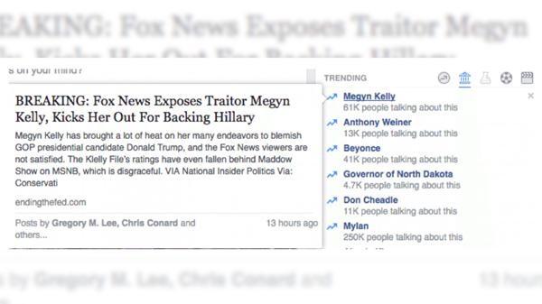 Un fragmento de la publicación del servicio Trending sobre Megyn Kelly