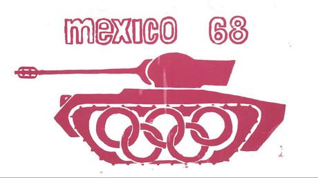Esténcil político sobre la masacre previa a las olimpiadas en México