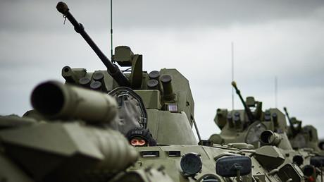 La infantería motorizada rusa en marcha