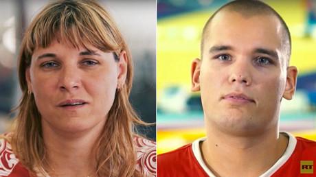 Los atletas de la selección paralímpica rusa, Elena Górlova y Dmitri Kókarev.