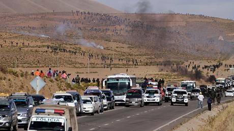 Una carretera bloqueada por mineros durante una protesta contra el Gobierno, Panduro.