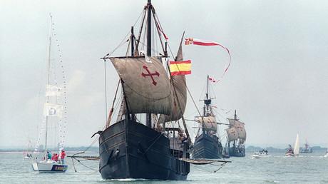 Réplicas de las tres carabelas que usó Cristóbal Colón en el descubrimiento de América: La Pinta, La Niña y Santa María