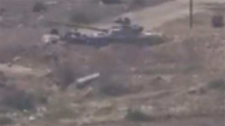 Video: la cortina térmica salva al tanque sirio T-72 de un misil guiado